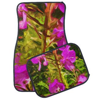 Alaskan Fireweed Pink Wildflower Abstract Car Mat