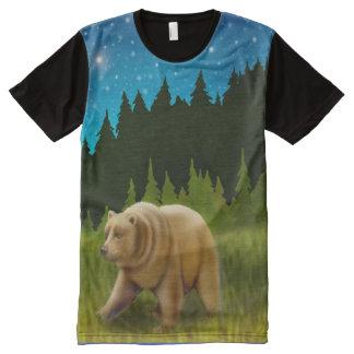 Alaskan Grizzly Bear at Night Allover Panel Shirt