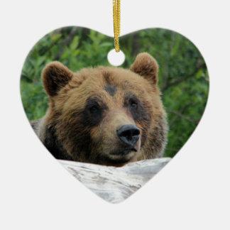 Alaskan Grizzly Bear, The Kodiak Double-Sided Heart Ceramic Christmas Ornament