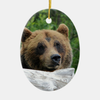Alaskan Grizzly Bear, The Kodiak Double-Sided Oval Ceramic Christmas Ornament