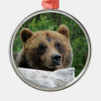 Alaskan Grizzly Bear, The Kodiak Round Metal Christmas Ornament