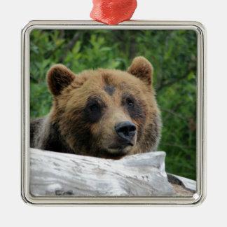 Alaskan Grizzly Bear, The Kodiak Square Metal Christmas Ornament