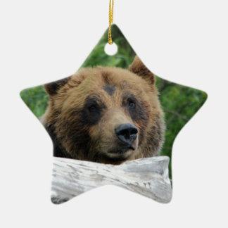 Alaskan Grizzly Bear, The Kodiak Double-Sided Star Ceramic Christmas Ornament