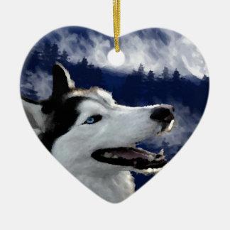 Alaskan Husky Double-Sided Heart Ceramic Christmas Ornament
