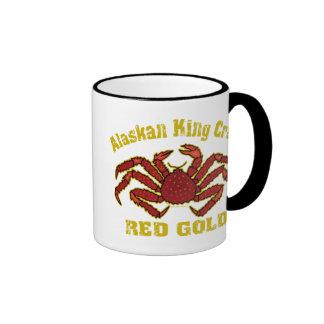 ALASKAN KING CRAB RED GOLD RINGER COFFEE MUG
