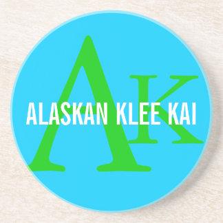 Alaskan Klee Kai Breed Monogram Sandstone Coaster