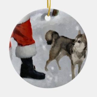 Alaskan Klee Kai Christmas Gifts Ceramic Ornament