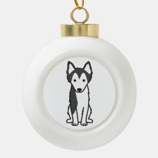 Alaskan Klee Kai Dog Cartoon Ceramic Ball Christmas Ornament