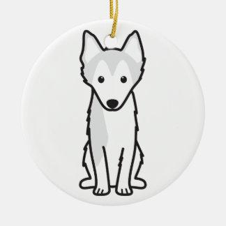 Alaskan Klee Kai Dog Cartoon Ceramic Ornament