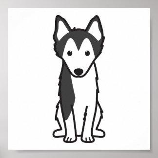 Alaskan Klee Kai Dog Cartoon Poster