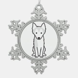 Alaskan Klee Kai Dog Cartoon Snowflake Pewter Christmas Ornament