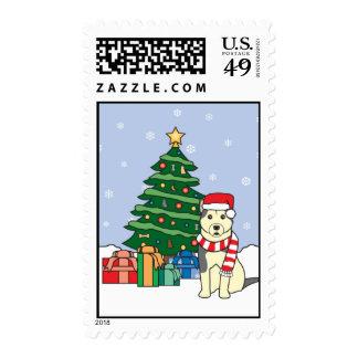 Alaskan Malamute and Christmas Tree Stamp