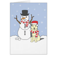 Alaskan Malamute and Snowman Cards