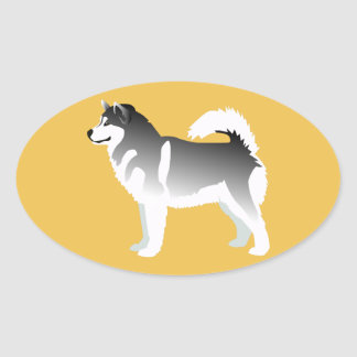 Alaskan Malamute Basic Design Oval Sticker