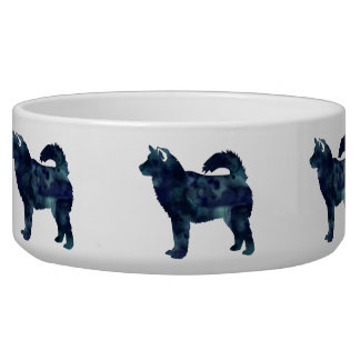 Alaskan Malamute Black Watercolor Silhouette Bowl