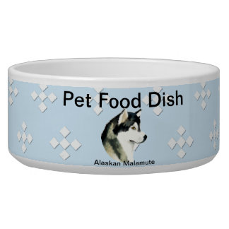 Alaskan Malamute ~ Blue w/ White Diamonds Bowl