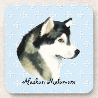Alaskan Malamute ~ Blue w/ White Diamonds Drink Coaster