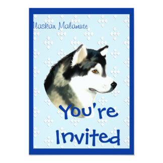 Alaskan Malamute ~ Blue w/ White Diamonds Personalized Invites