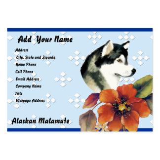 Alaskan Malamute ~ Blue w/ White Diamonds Large Business Card
