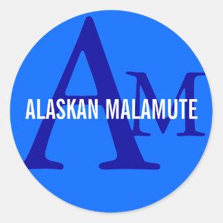 Alaskan Malamute Breed Monogram Classic Round Sticker