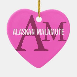 Alaskan Malamute Breed Monogram Double-Sided Heart Ceramic Christmas Ornament