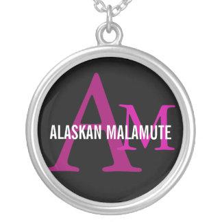 Alaskan Malamute Breed Monogram Round Pendant Necklace