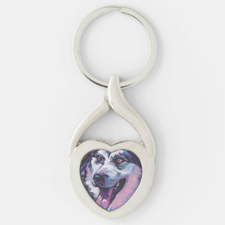 Alaskan Malamute Bright Colorful Pop Dog Art Silver-Colored Heart-Shaped Metal Keychain