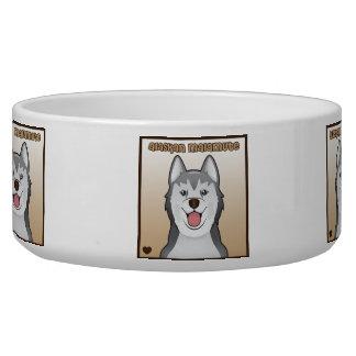 Alaskan Malamute Cartoon Heart Box Pet Water Bowl