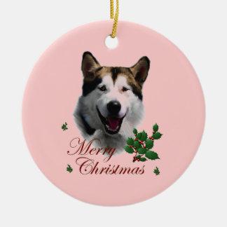 Alaskan Malamute Christmas Double-Sided Ceramic Round Christmas Ornament