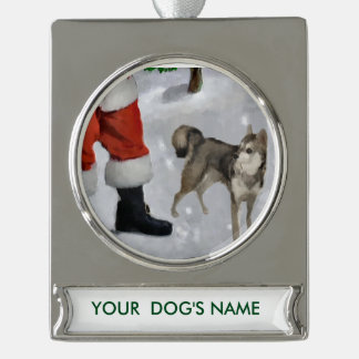 Alaskan Malamute Christmas Personalized Silver Plated Banner Ornament
