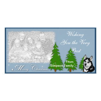 Alaskan Malamute Christmas Photocard Card