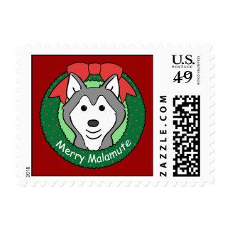 Alaskan Malamute Christmas Postage Stamps