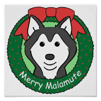 Alaskan Malamute Christmas Posters
