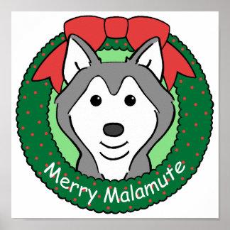 Alaskan Malamute Christmas Print