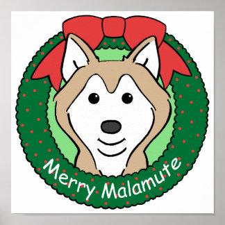 Alaskan Malamute Christmas Poster