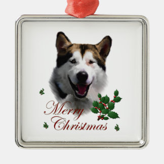 Alaskan Malamute Christmas Square Metal Christmas Ornament