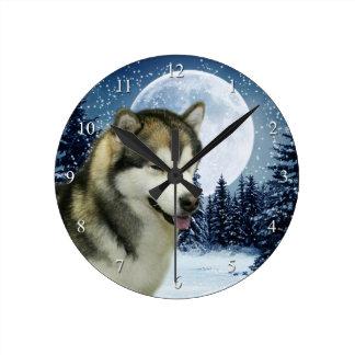 Alaskan Malamute Clock