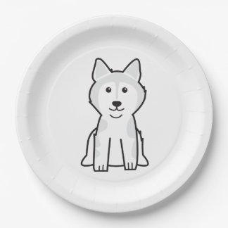 Alaskan Malamute Dog Cartoon Paper Plate