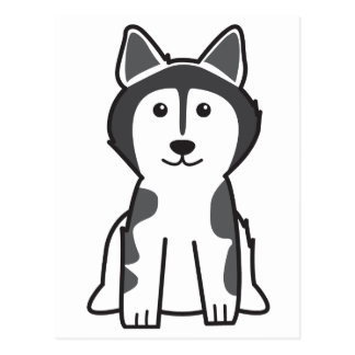 Alaskan Malamute Dog Cartoon Postcard