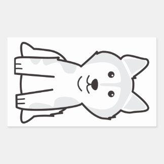 Alaskan Malamute Dog Cartoon Rectangular Sticker