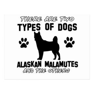 Alaskan Malamute dog designs Postcard