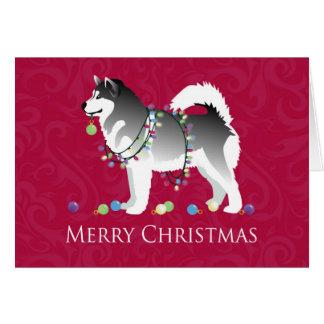 Alaskan Malamute Dog Merry Christmas Design Card