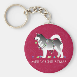 Alaskan Malamute Dog Merry Christmas Design Keychain