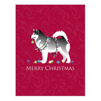 Alaskan Malamute Dog Merry Christmas Design Postcard