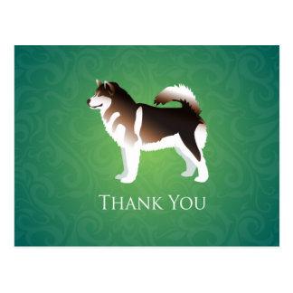 Alaskan Malamute Dog Thank You Design Postcard
