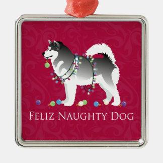 Alaskan Malamute Feliz Naughty Dog Christmas Metal Ornament