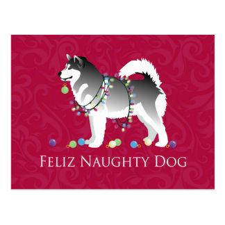 Alaskan Malamute Feliz Naughty Dog Christmas Postcard