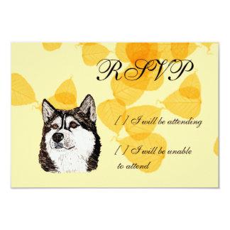 Alaskan Malamute Gold Leaves 3.5x5 Paper Invitation Card