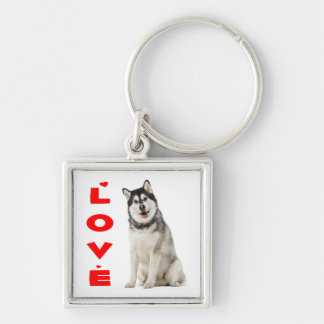 Alaskan Malamute Gray And Black Puppy Dog Red Love Keychain