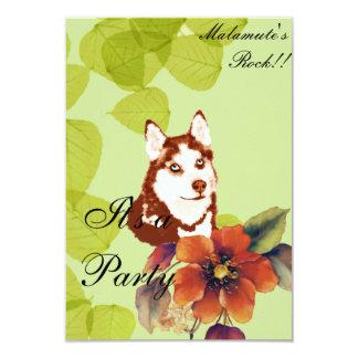 Alaskan Malamute ~ Green Leaves Design Personalized Invites